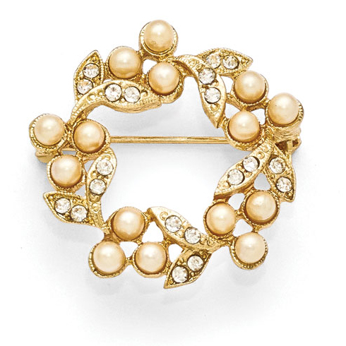 Gold-tone Downton Abbey Simulated Pearl Crystal Wreath Pin