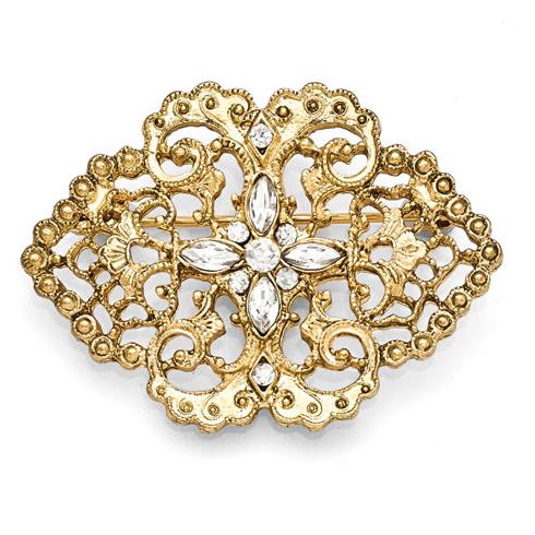 Gold-tone Downton Abbey Crystal Filigree Bar Pin