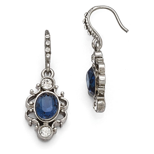 Silver-tone Downton Abbey Blue Crystal Oval Dangle Earrings