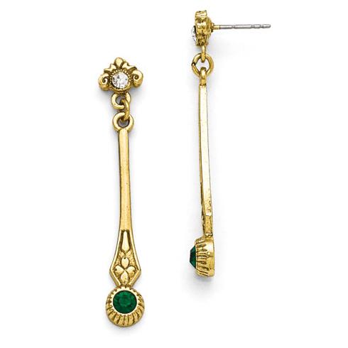 Gold-tone Downton Abbey Green Crystal Linear Drop Earrings