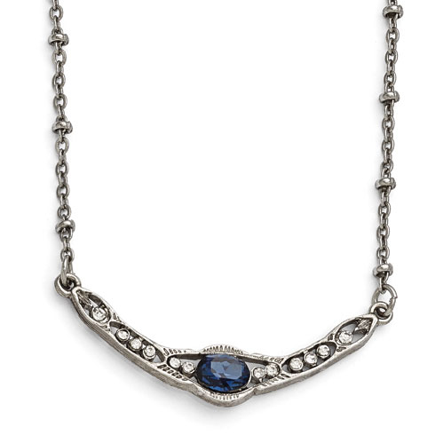 Silver-tone Downton Abbey Oval Blue Crystal Collar Necklace