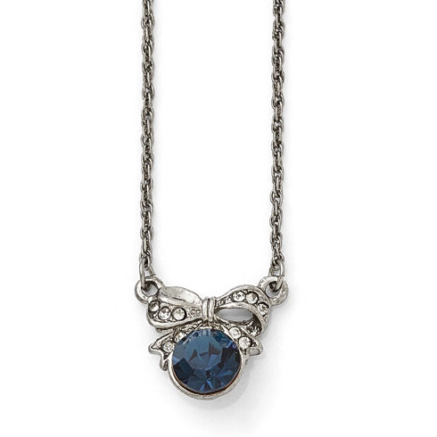 Silver-tone Downton Abbey Blue Crystal Bow Necklace