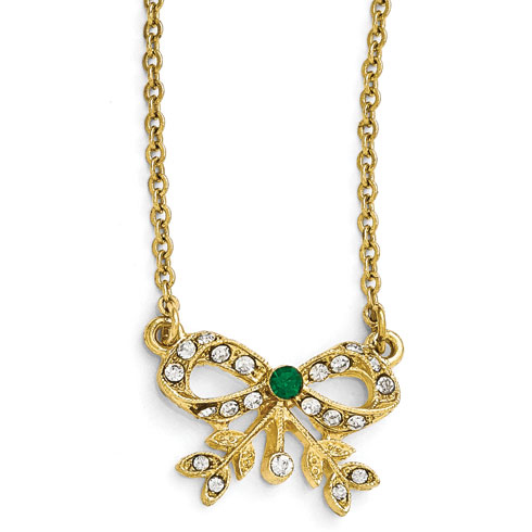 Gold-tone Downton Abbey Green Crystal Bow Necklace