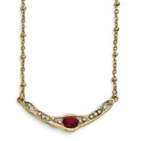 Gold-tone Downton Abbey Red Glass Collar Necklace