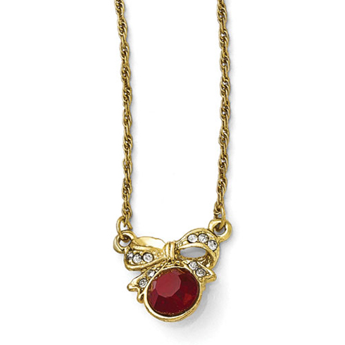 Gold-tone Downton Abbey Red Crystal Bow Necklace