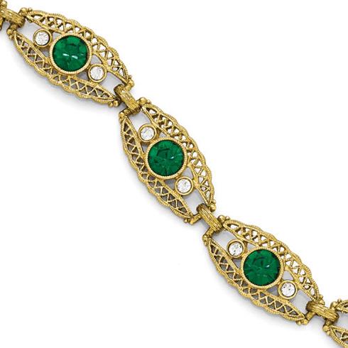 Gold-tone Downton Abbey Green Crystal 6 1/2in Bracelet