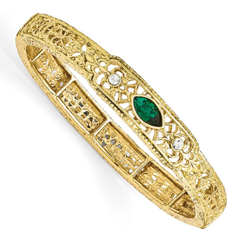 Gold-tone Downton Abbey Green Crystal Stretch Bracelet