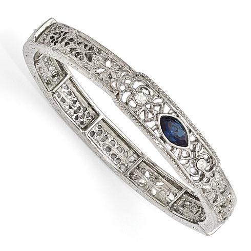 Silver-tone Downton Abbey Blue Crystal Stretch Bracelet
