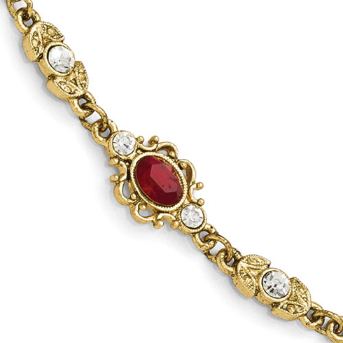 Gold-tone Downton Abbey Red Crystal 7 1/2in Bracelet