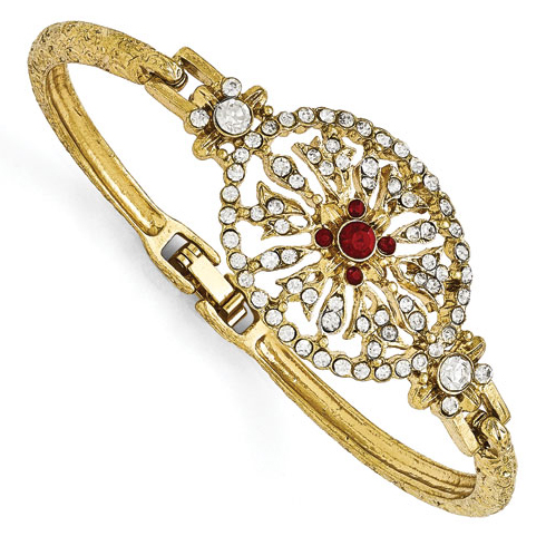Gold-tone Downton Abbey Red and White Crystal 7in Bracelet