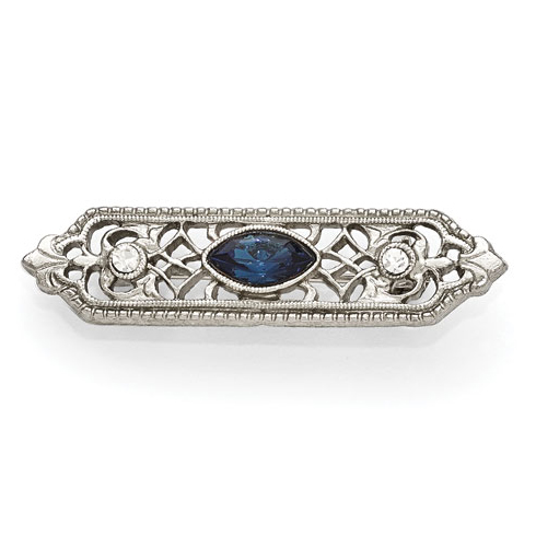 Silver-tone Downton Abbey Blue Clear Crystal Pin