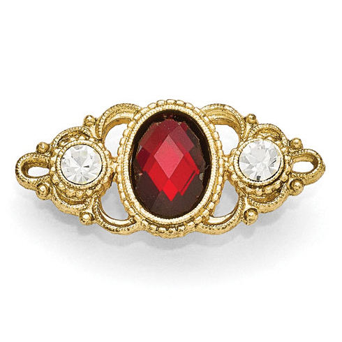 Gold-tone Downton Abbey Red Crystal Pin