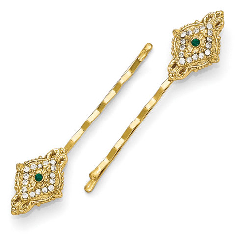 Gold-tone Downton Abbey Green Crystal Set of Hair Pins