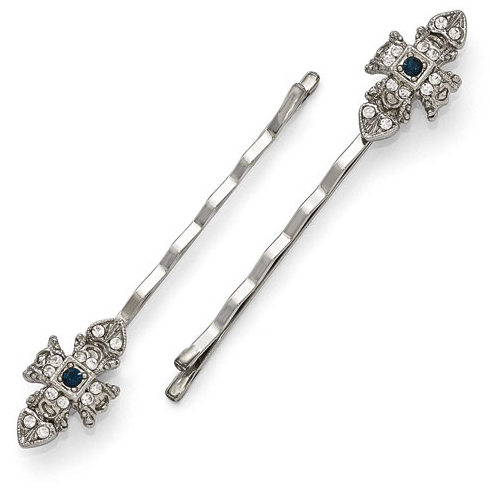 Silver-tone Downton Abbey Blue Crystal Set of Hair Pins