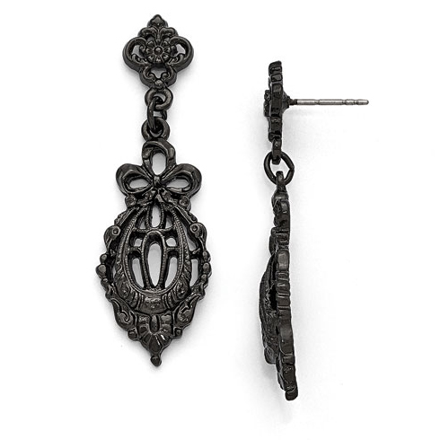 Black-plated Downton Abbey Bow Drop Filigree Post Earrings