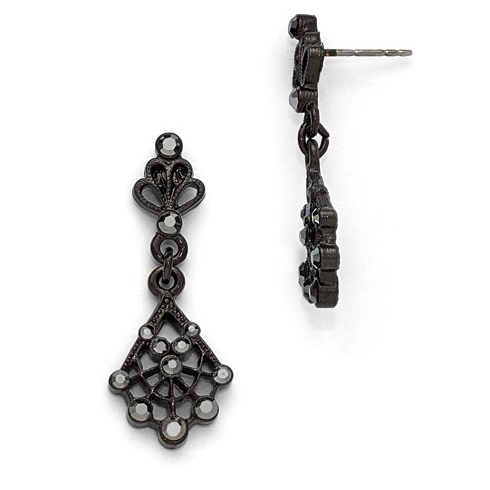 Downton Abbey Black-plated Black Crystal Post Drop Earrings
