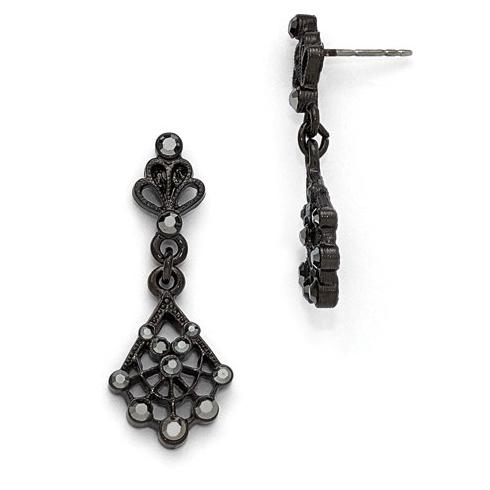 Downton Abbey Black-plated Black Crystal Post Drop Earrings