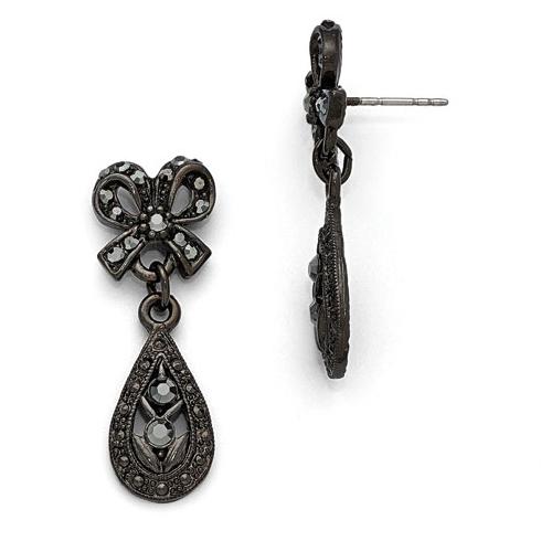 Downton Abbey Black-plated Glass Bow Teardrop Earrings