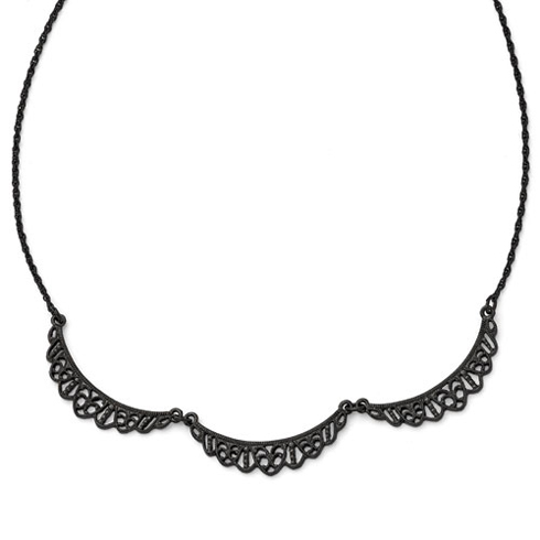 Black-plated Downton Abbey Filigree Scalloped Collar Necklace