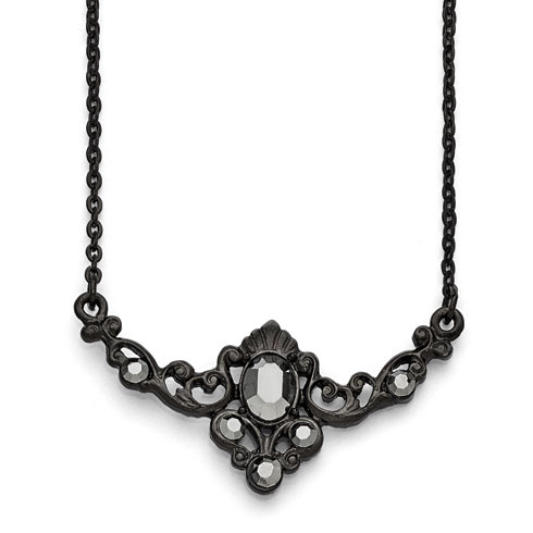 Black-plated Downton Abbey Glass Belle Epoque Collar Necklace