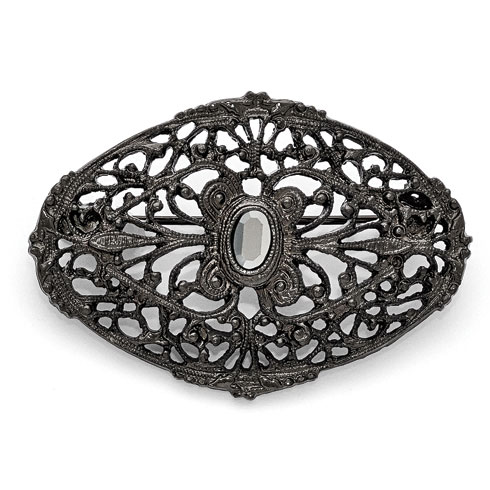 Black-plated Downton Abbey Black Glass Oval Lace Pin