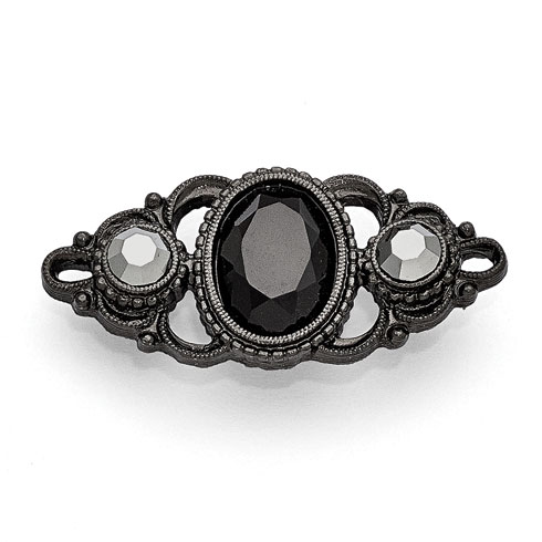 Black-plated Downton Abbey French Scroll Crystal Pin