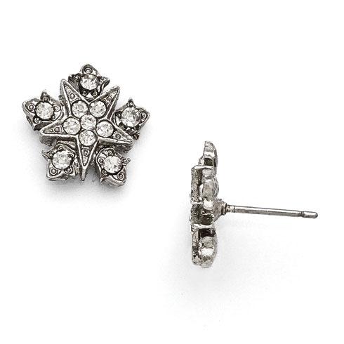 Silver-tone Downton Abbey Crystal Starburst Post Earrings