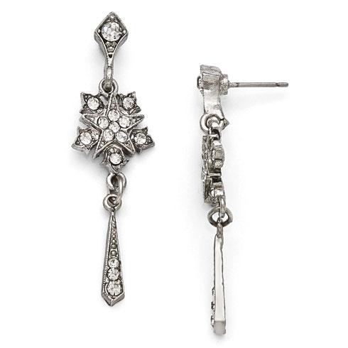 Silver-tone Downton Abbey Crystal Starburst Tassel Earrings