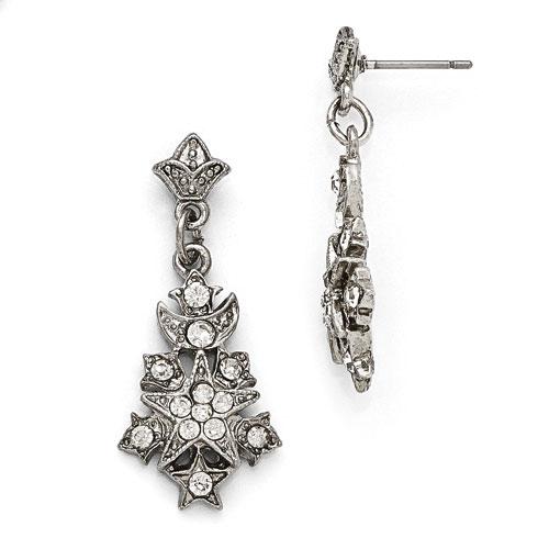 Silver-tone Downton Abbey Crystal Starburst Dangle Earrings