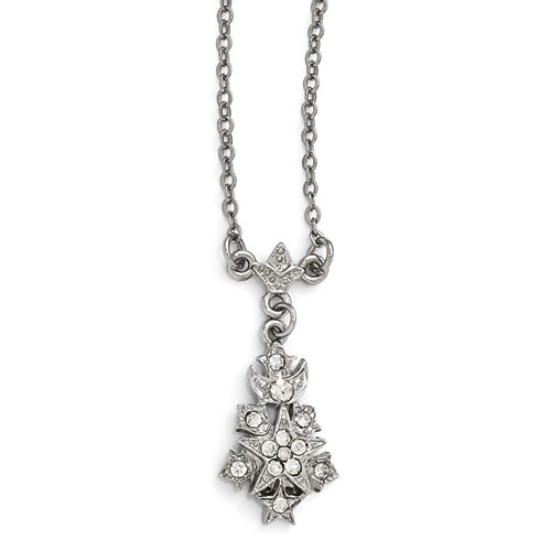 Silver-tone Downton Abbey Crystal Starburst Drop Necklace