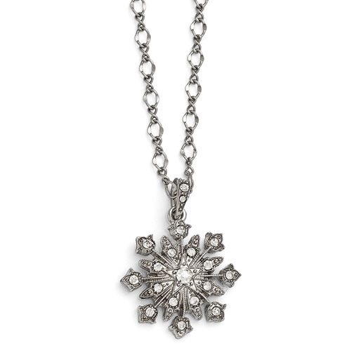 Silver-tone Downton Abbey Crystal Starburst Pendant Necklace