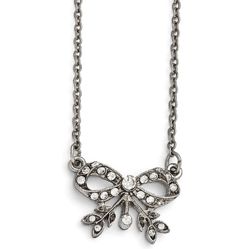 Silver-tone Downton Abbey Crystal Bow Necklace