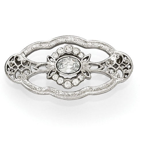 Silver-tone Downton Abbey Edwardian Oval Crystal Pin