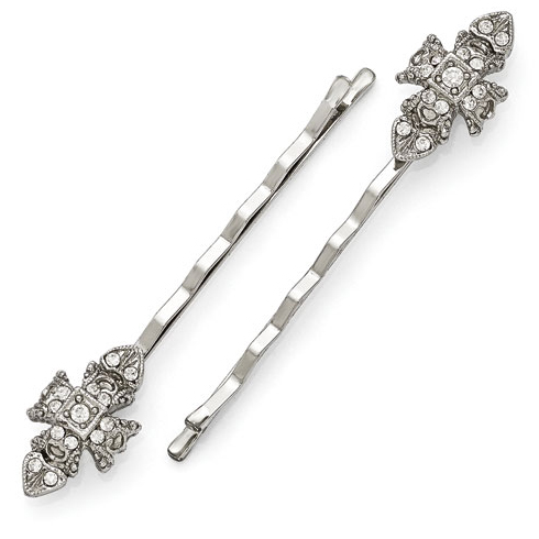 Silver-tone Downton Abbey Fancy Crystal Set of Hair Pins