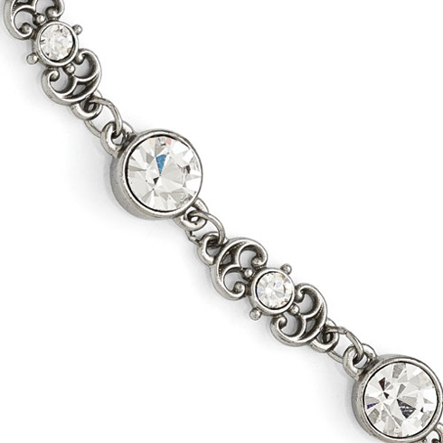 Silver-tone Downton Abbey Round Crystal 7 1/2in Bracelet