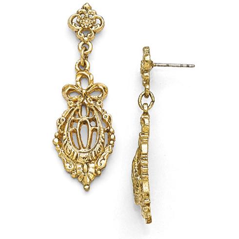 Gold-tone Downton Abbey Bow Filigree Drop Earrings