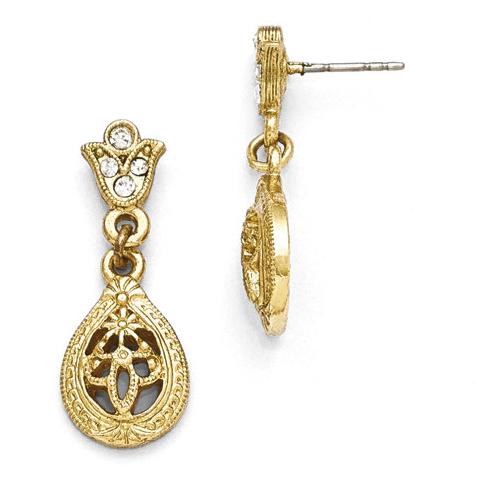 Gold-tone Downton Abbey Crystal Filigree Post Earrings