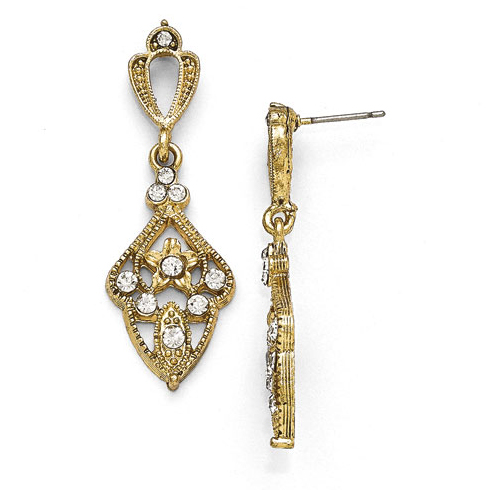 Gold-tone Downton Abbey Encrusted Crystal Drop Earrings