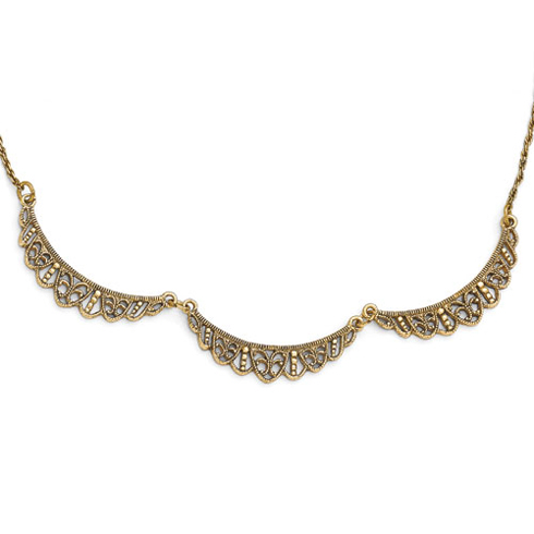 Gold-tone Downton Abbey Scalloped Necklace