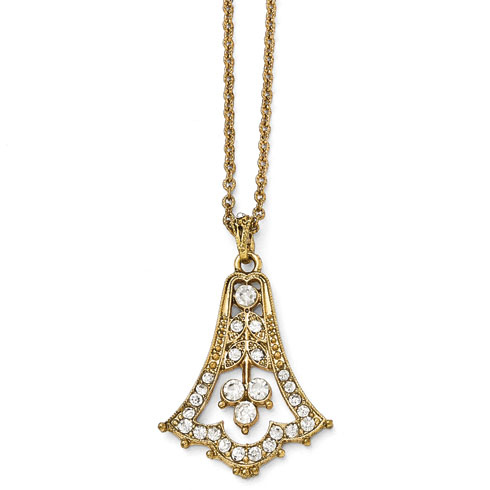 Gold-tone Downton Abbey Glass Bell Drop Necklace