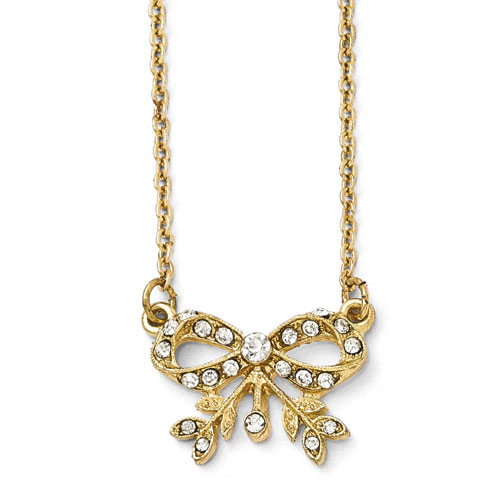 Gold-tone Downton Abbey Edwardian Crystal Bow Necklace