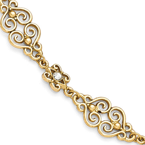 Gold-tone Downton Abbey 7 1/2in Crystal Accent Toggle Bracelet