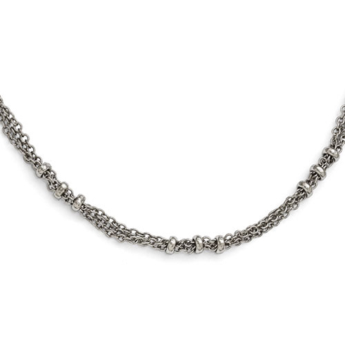Silver-tone Downton Abbey 3 Bead Link 36in Necklace