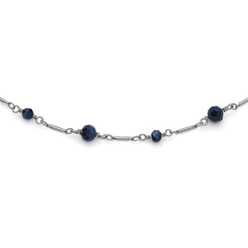 Silver-tone Downton Abbey Black Glass Bead 36in Necklace