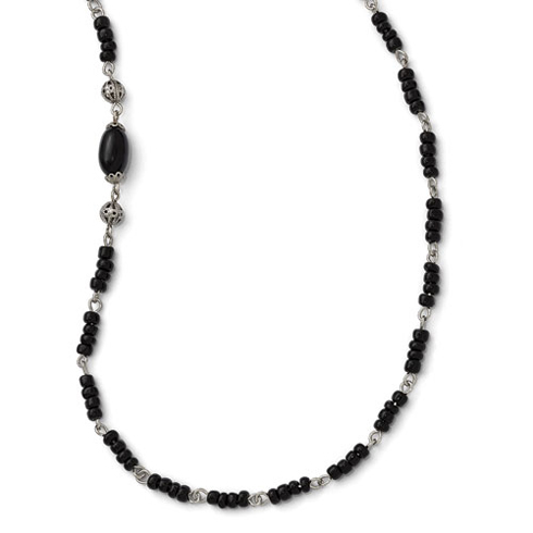 Silver-tone Downton Abbey Black Acrylic Bead 36in Necklace
