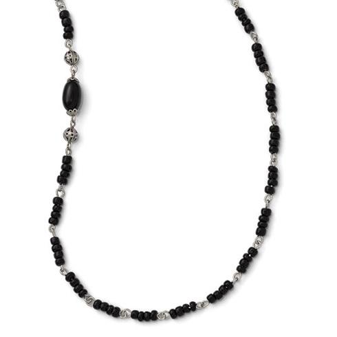 Silver-tone Downton Abbey Black Acrylic Bead 36in Necklace