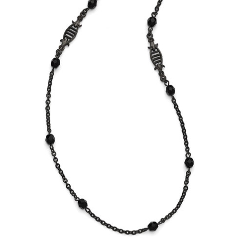 Black-plated Downton Abbey Black Glass Bead 36in Necklace