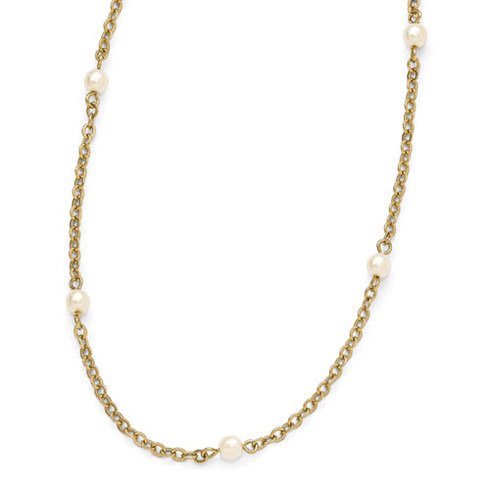 Gold-tone Downton Abbey Simulated Pearl Accents 36in Necklace