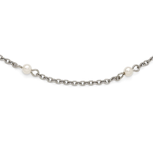 Silver-tone Downton Abbey Simulated Pearl Accents 36in Necklace