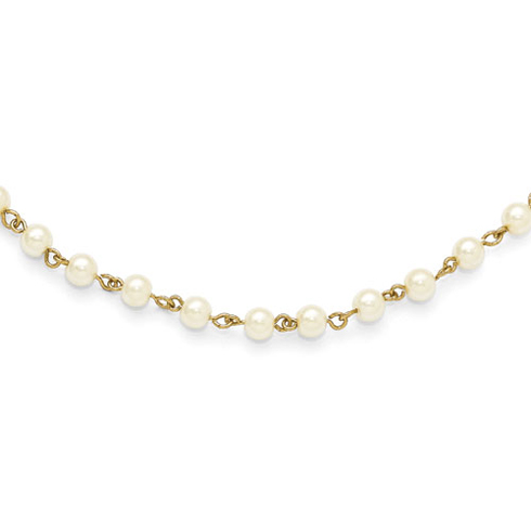 Gold-tone Downton Abbey 36in Necklace with Simulated Pearls